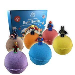 6 Bath Bombs Set for Kids and Teens with SUPERHEROES inside bath bombs USA