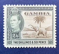 1938 GAMBIA 2S 6P STAMP #140 MINT HING OG KING GEORGE VI AFRICAN ELEPHANT