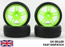 4 X 5-habló las ruedas & Verde sobre Carretera Neumáticos 1/10th Touring Coche RC * pre pegado * 12mm