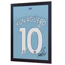 NEW Kun Aguero Signed Sergio Shirt autographed Jersey Canvas 100% Cotton Framed