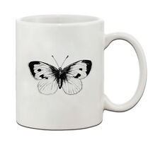 White Cabbage Butterfly Vintage Look Ceramic Coffee Tea Mug Cup 11 Oz