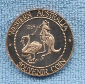 1984 Western Australia Souvenir Coin Kangaroo Swan Perth farming ship O-86