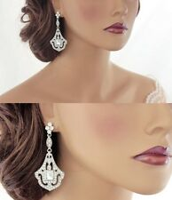 Bridal Wedding Rhinestones Crystal Diamante Chandelier Long Drop Earrings NEW