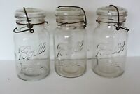 Lot of 3 VINTAGE BALL IDEAL QUART CANNING JARS WITH GLASS LIDS & WIRE BAILS