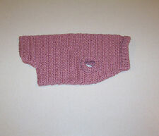 Hand Crochet Light Mauve Dog Sweater Medium Pet