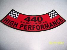 1- 440 Cubic Inches High Performance Air Cleaner Cover Sticker (NEW VINYL)