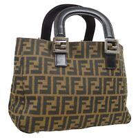 FENDI Zucca Pattern Hand Bag Purse Brown Black Canvas Leather Italy 36728