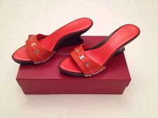 New Authentic Salvatore Ferragamo Patent Leather Wedges Orange Women Size 9 US