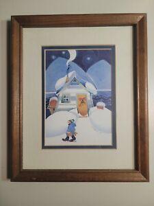 Rie Munoz Winter Cabin Framed Art Print 1990 Vintage