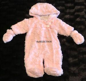 BABY GIRL PINK FAUX FUR SNOWSUIT PRAM SUIT SATIN BOW 3/6 MONTHS- NEW