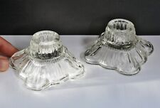 Elegant Vintage Pair of Clear Pressed Glass Squat Candlesticks - Good Condition
