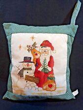 """Christmas Throw Pillow Santa Snowman Rudolph Reindeer 10"""" x 11"""" Green Glitter"""