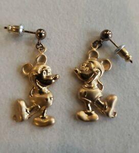 Vintage Disney Mickey Stud / Dangle Gold Tone earrings