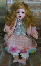 """Cathay Vinyl Doll Long Curly Red Hair Blue Eyes Lashes Giggle Box 20"""""""