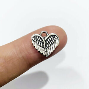30pcs Angel Wing Heart Charms Antique Silver Tone Pendant Bead Jewellery Making