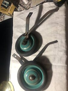 """Vintage 6-3/4"""" Metal Training Wheels & Brackets Teal Green With White Painted"""