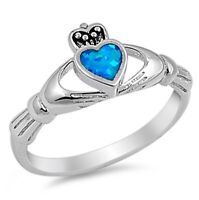 R Size  Blue Fire Opal Heart Solid Sterling Silver Claddagh Ring Gift for Her