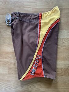 Vintage Men's Brown Billabong Andy Irons Kauai Hawaiian Surf Board Shorts Sz 34