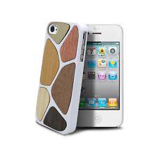 Cover Custodia in legno Patchwork Bianco per per iPhone 4/4s