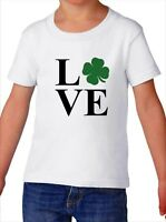 Toddler LOVE Shirt Funny St Patricks Day Tee Shamrock Boys & Girls Paddys Day