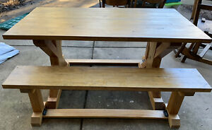 """TRESTLE FARMHOUSE TABLE with 2 Benches, Handcrafted, 5' LONG 31.5"""" WIDE - EUC"""
