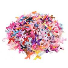 100Pcs Mini Satin Ribbon Flowers Bows Craft Wedding Decoration ornament Gift
