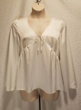 New KENSIE Ivory Satin Deep V-Neck Women's Size L Large Long Sleeve Blouse Top