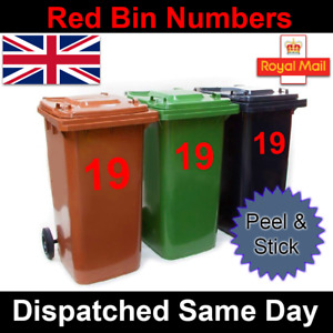 3 x Red Wheelie Bin House Numbers Stickers Wheely Sticker Vinyl Peel&Stick