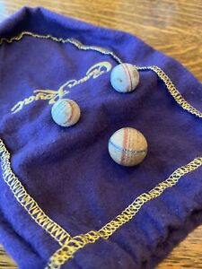 VTG Antique Marbles Lot Of 3 Decorative Clay Various Sizes.