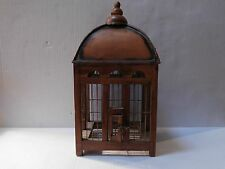 DECORATIVE COLLECTIBLE BIRD CAGE WOOD, WIRE AND METAL COPPER LIKE ROOF