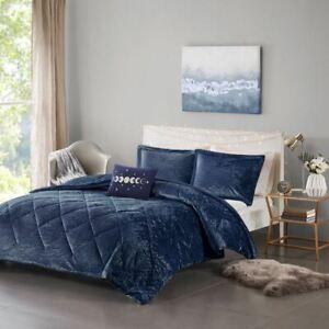 Luxury Navy Blue Lush Velvet Comforter Set AND Decorative Pillow - ALL SIZES