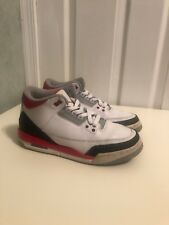 2013 fire red retro Jordan 3 size 7Y  used white, red, and black