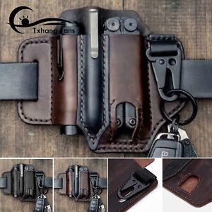 Tactical Belt Multitool Leather Sheath EDC Pocket Organizer Storage Bag Men A2TF