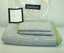NIP Dwell Studio Dwellstudio Full Gray Quilt Sham Set Green Trim Geometric Kids