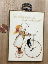 Vintage Holly Hobbie Wall Plaque Decor Bike Friendship Smooth Road 1975