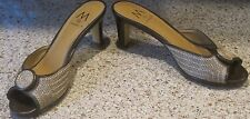 Marinelli 6-1/2 M Brown & Tan Open Toe Slip On Stylish Kitten Heeled Shoes