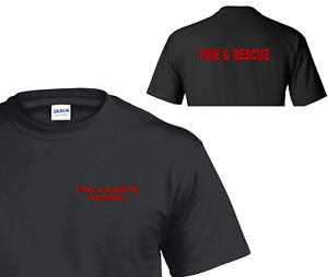 FIRE AND RESCUE SERVICE T SHIRT WITH BACK PRINT - UK FIREMAN EMERGENCY SERVICES
