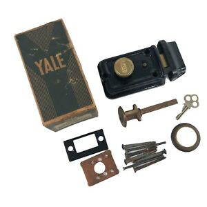 Vintage 40s Yale Cast Iron Brass Pin Tumbler Cylinder Rim Springlatch Door Lock