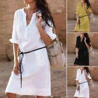 Boho Womens Button Long Tops Tunic Linen Ladies Summer Casual Beach Shirt Dress