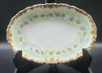 """T.V. Limoges France 7"""" Oval Porcelain Hand Painted Daisy Dish"""
