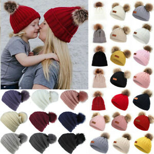 Unisex Kids Knit Fur Pom Pom Bobble Warmer Beanie Hat Mom&Daughter Matching Cap