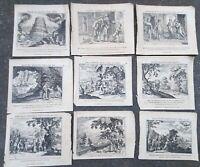 1723 LOTTO 9 INCISIONI IN RAME DI DUFLOS ANTICO TESTAMENTO ABRAMO SODOMA BABELE