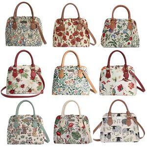 Signare Tapestry Style Convertible Top Handle Handbag Floral/Animal Patterns