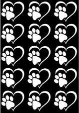 "Heart Dog Cat Paw Print 5"" X 3-1/2"" Card White Fused Glass Decals 17CC783"