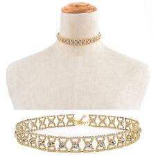 Women Crystal Rhinestone Pendant Choker Collar Bow Gold Chain Necklace JewelryHL