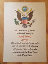 More details for personlised / custom wwi american memorial certificate