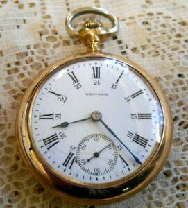 #40 Vintage Open Face Waltham Pocket Watch Gold filled 18S case 17 Jewels