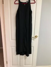 Sussan GUC Size 14 Hi Lo Black Maxi Dress High Neck Pleat Front Detail