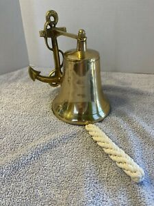 """Vintage Solid Brass Anchor Ship Bell Nautical Rope Lanyard Pull Maritime 7"""""""