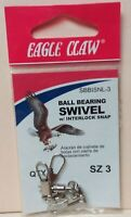 EAGLE CLAW BALL BEARING SWIVEL, SZ 3,  QTY 3, FREE & PROMPT SHIPPING